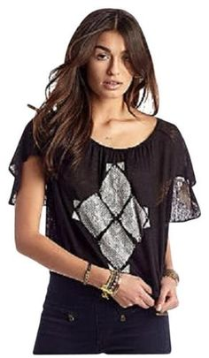 3467-New-Free-People-Ponce-De-Leon-Butterfly-Sleeve-Black-Blouse-Tunic-Top-M-8