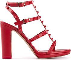 Valentino Rockstud Red Leather T-Strap Studded Leather Sandal - Buy Online - Designer Sandals
