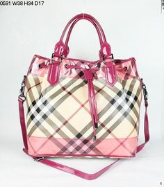 4e46ccded428  950 BURBERRY Large Vinyl Coated Canvas Nova Check Tote w Patent Detail P O   18