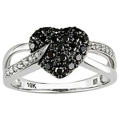 Ice 1/3 CT Black and White Diamond 10k White Gold Ring (1 195 AUD) ❤ liked on Polyvore featuring jewelry, rings, accessories, aneis, women's accessories, white gold heart ring, white gold diamond jewelry, ice ring, black and white diamond jewelry and heart shaped rings