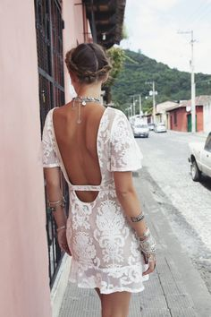 LAND OF ETERNAL SPRING | Studded Hearts | little white dress for summer - perfect with a tan | FOR LOVE & LEMONS SPRING '14 LOOKBOOK