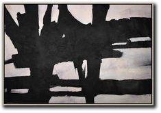 CZ Art Design. Horizontal Minimal Art, minimalist painting on canvas, black, white and pink large canvas art #MN28C. Neutral interior design decor.