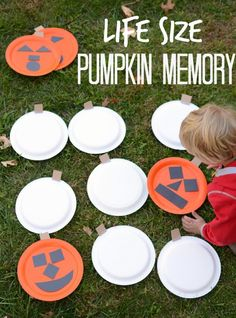 Get moving with this super-sized memory game! Making this for our Halloween party! You will need orange paper plates, black and brown construction paper, tape, scissors