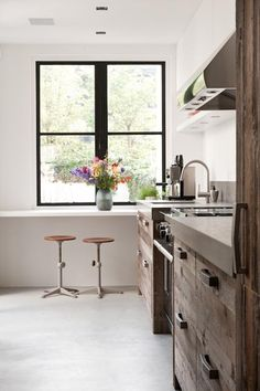 Reclaimed wood kitchen cabinets.