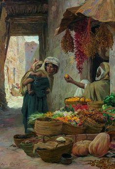 Algérie - Peintre Français Eugène Girardet (1853-1907), huile sur toile , Titre : Le marchand de fruits