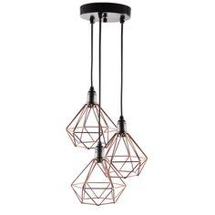 Pendente Aramado Diamante - Cobre - Design Estilo Industrial