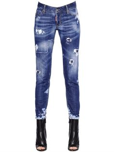 DSQUARED2 Jennifer Destroyed Stretch Denim Jeans, Blue. #dsquared2 #cloth #jeans
