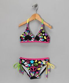 Take a look at this Pink & Black Love Burst Bikini by Lisabelle on #zulily today!
