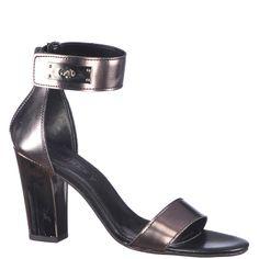 Sandale cu toc inalt de 9,5 cm, marca Thurley de culoare gri inchis metalic. Sunt din piele naturala, piciorul fiind fixat printr-o bareta in partea din fata si acoperis si bareta in jurul gleznei in partea din spate. Metal, Shoes, Fashion, Moda, Zapatos, Shoes Outlet, Fashion Styles, Metals, Shoe