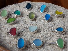 Sea Glass Ring, Sea Glass Jewelry, Sterling Silver, Red, Stackable RIngs. Beach Glass Jewelry $57