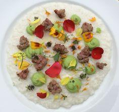 Risotto con Burola, crema di piselli e fiori eduli - Chef Federico Veronesi