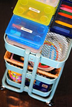 organize all your kids' art supplies on this gorgeous cart!  Kids Art Cart {IKEA RASKOG cart} via www.makinglemonadeblog.com