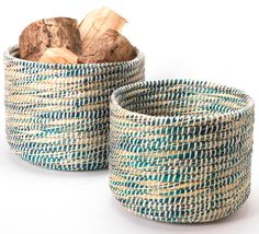 Woven Storage Baskets - Set of 2 - Natural Collection Select