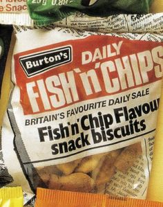 Burton's Fish'n'chips.... I used to buy these in Primary school at break time, I think they cost around 5p a packet back then, probably one of the most popular snacks from the 70's!