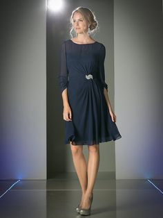 04333cf19f Scoop Cocktail Dress with Three Quarters Sleeves by Cinderella Divine CF062  Navy Blue Mothers Dresses