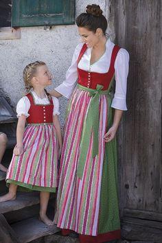Authentic Lederhosen and Dirndl Dresses - Lederhosen Store Little Girl Dresses, Girls Dresses, Summer Dresses, Corsage, Sound Of Music Costumes, Drindl Dress, German Costume, German Fashion, German Girls