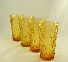 New to ChicMouseVintage on Etsy: 4 Lido 10 Ounce Glasses or Tumblers - Anchor Hocking  - Honey Gold Color - Hard To Find Size. (30.00 USD)