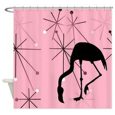Pink Atomic Starburst MidCentury Modern Flamingo Shower Curtain  on CafePress.com