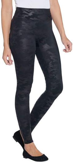 73817498a Spanx Faux Leather Matte Black Camo Leggings