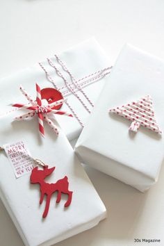 Love the clean, red and white gift wrapping job here - and the simple but elegant straw garnishes!
