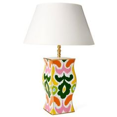 Check out this item at One Kings Lane! Ikat Floral Table Lamp, Multi