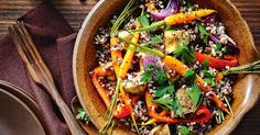 This colourful mixed grain and roasted vegetable salad makes a healthy side dish for a roast dinner.