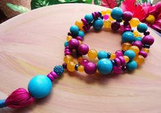Teal, Magenta, and Citrus Orange Beaded Tassel Necklace