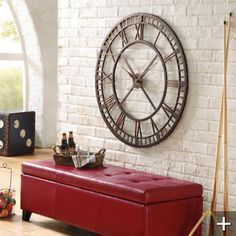 Kitchen wall clock decor family rooms ideas for 2019 Decor, Wall Clock Design, Room, Interior, Leather Storage Ottoman, Clock Decor, Home Decor, Wall Clock, Kitchen Wall Clocks