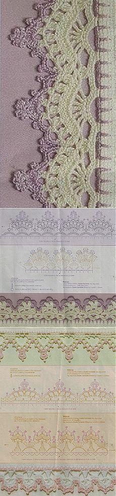 51 Ideas Crochet Lace Edging How To Crochet Boarders, Crochet Edging Patterns, Crochet Lace Edging, Crochet Motifs, Crochet Diagram, Crochet Chart, Crochet Squares, Thread Crochet, Crochet Designs