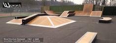 Skatepark à Angers - Street & Rampe Installation d'un ensemble de module et rampe au Skatepark d'Angers (49) au Stade de la Baumette.  Module Street : Plan Incliné, Transfert, Wall Ride et Pyramide | Module Rampe : Mini rampe | Hauteur 1.20 | Largeur 4.88  Surface de Roulement : Skatelite Pro