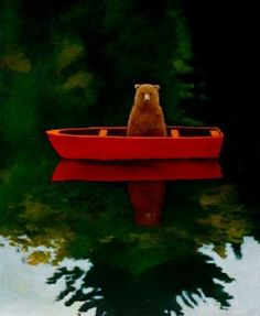 """Bear in Boat,"" by Joyce Koskenmaki. Currently I am sensing more playfulness emerging in the paintings I have just finished, such as the bear in a boat. He is having fun instead of hiding. Art And Illustration, Bear Art, Illustrators, Art Photography, At Least, Artsy, Fine Art, Drawings, Prints"