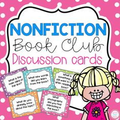 These 20 non-fiction book club discussion cards are great for any nonfiction book! If students need something to talk about these cards are very helpful and include so many different and interesting discussions questions. Book Club Books, The Book, Book Clubs, Book Club Questions, First Grade Activities, Reading Groups, Guided Reading, Math Lesson Plans, Elementary Schools