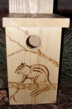 Birdhouse with Wood Burned Chipmunk
