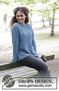 Knitted jumper with cables and raglan, worked top down. Sizes S - XXXL. The piece is worked in DROPS Puna.
