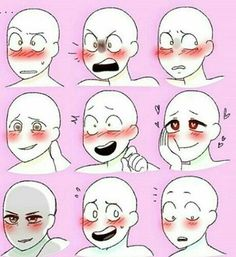 different facial expressions, pink background, drawing tutorial, anime boy drawing Reference ▷ 1001 + ideas on how to draw anime - tutorials + pictures Drawing Face Expressions, Anime Faces Expressions, Poses References, Drawing Reference Poses, Anatomy Reference, Pose Reference Photo, Art Poses, Drawing Techniques, Drawing Tips