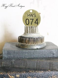 Vintage Metal Number Brass Tag Round by HoggBarnAntiques on Etsy