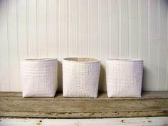 vintage white knit blanket basket linen by JenniferHeleneHome