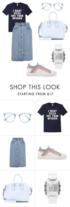 """Friday suit"" by zhenia-samolichenko on Polyvore featuring Oliver Peoples, M.i.h Jeans, Sophia Webster, Givenchy and GUESS"