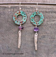 Green copper hoops with purple fluorite and by CopperLarkStudio Silver Earrings, Dangle Earrings, Green Copper, Circle Pattern, Copper Jewelry, Designer Earrings, Artisan Jewelry, Ears, Gifts For Her