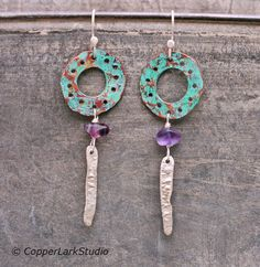 Green copper hoops with purple fluorite and by CopperLarkStudio