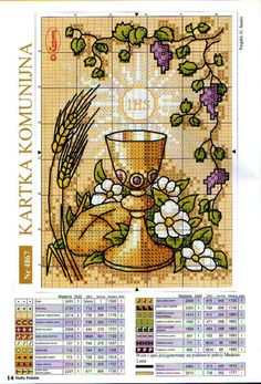 Caliz Counted Cross Stitch Patterns, Cross Stitch Designs, Cross Stitch Embroidery, First Communion Banner, First Holy Communion, Christian Symbols, Religious Cross, Cross Stitching, Banners
