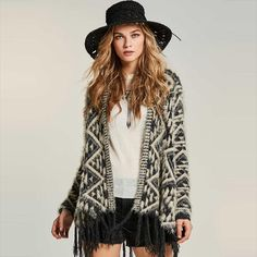 Women Knitwear Cape Autumn Patchwork Cardigan Bohemia Fashion Clothing Tassel New Elegant Slim Capes Black And White Cardigans, Bohemia Style, Bohemia Fashion, Cheap Dresses Online, Fall Sweaters, Boho Sweaters, Cardigans For Women, Knitwear, Ideias Fashion