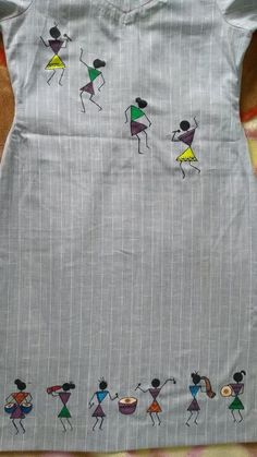 Warli Painting on Kurta – paulinepriya Hand Embroidery Dress, Kurti Embroidery Design, Hand Embroidery Videos, Flower Embroidery Designs, Creative Embroidery, Simple Embroidery, Hand Embroidery Patterns, Saree Painting Designs, Fabric Paint Designs