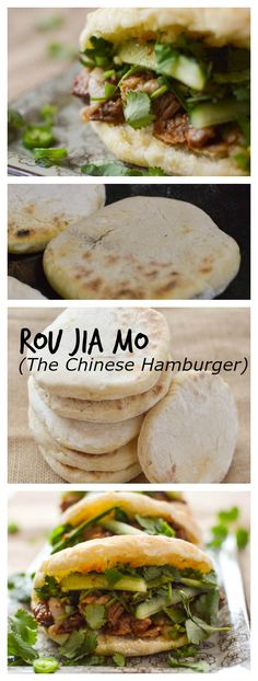 "Rou Jia Mo is a Chinese sandwich that often gets lovingly translated as a ""Chinese Hamburger."" Braised pork gets sandwiched between fresh flat bread and garnished with cilantro, cucumber, and green chili peppers. Do you want to learn how to make a Chinese hamburger? #Chinesefood"