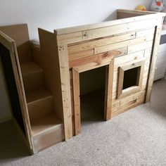 #Bed, #Bedroom, #Kids, #Painted, #PalletBed, #PalletKidsPlayhouse, #RecyclingWoodPallets If you build it, they will play... Make efficient use of space and let imagination free with this terrific Kids Pallet Bed/Playhouse.  How I Built thisKids Pallet Bed/Playhouse: I constructed the bed and playhouse out of timber frame that I c
