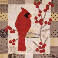 Cardinal and red berries - Made with fabric I won at a giveaway - Top ready to be quilted