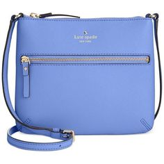 kate spade new york Cedar Street Tenley Crossbody ($119) ❤ liked on Polyvore featuring bags, handbags, shoulder bags, delphinium, blue leather purse, crossbody shoulder bags, crossbody purse, leather cross body purse and leather crossbody