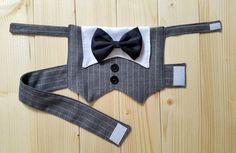 Dog Tuxedo Dog Wedding Suit Dog Formal Wear Pet Vest by PinkBau