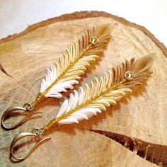 Tsumami zaiku. Kanzashi. Feather dangling earrings. Fabric feather charm…