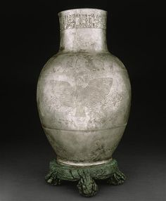 Silver Engraved Vase. Early Dynastic Period/1st Dynasty of Lagash. ca. 2400 BCE. Tello (Ancient Girsu), Iraq.